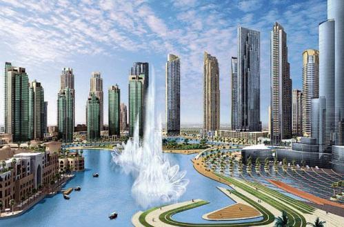каскад фонтанов в Дубаи