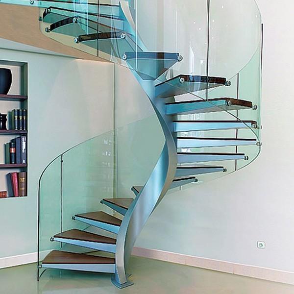 винтовая лестница дерево+сталь+стекло
